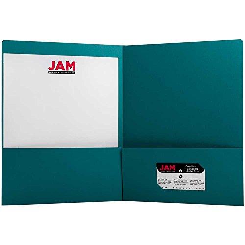 JAM Paper® 2 Pocket Matte Cardstock Paper School Presentation Folder - Teal  Blue - 1000 Folders per carton