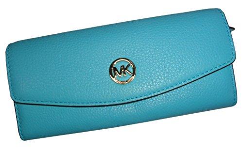 517e8df4c503 Michael Kors Fulton SLIM FLAP Leather Wallet Aquamarine W MK Logo ...