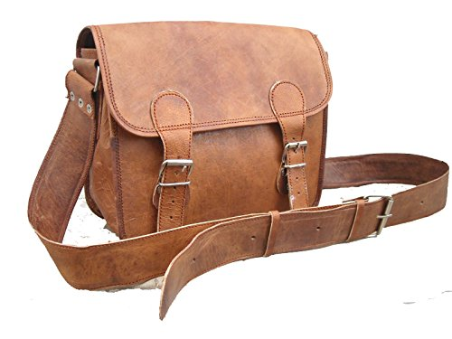 Vintage Leather Bazaar Craft Messenger Real Goat Hide Laptop Bag Lunch Bo Chargers Adapters Carrying Cases
