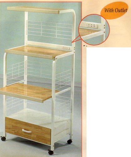 White Kitchen Rolling Microwave Cart With Power Strip