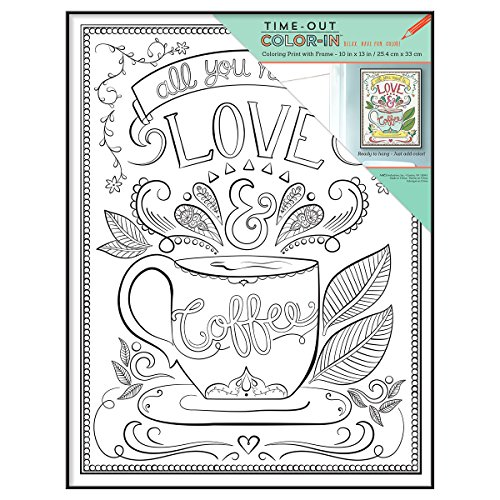 MCS Time-Out Color-In Framed Adult Coloring Page with Love & Coffee ...