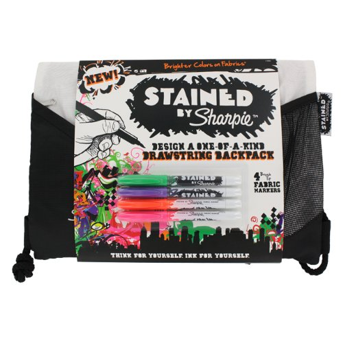 sharpie stained fabric markers 4 pack with drawstring backpack
