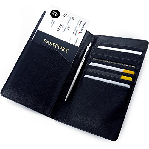 45f1f9055025 Beurling Leather Travel Wallet & Passport Holder – RFID Blocking Case Cover  – Comfortably Holds Passport, Business Cards, Credit Cards, Coupons, ...