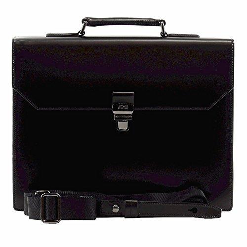 Hugo Boss Men s Lamot Black Genuine Leather Business Briefcase Bag ... cc2bd9df00b32