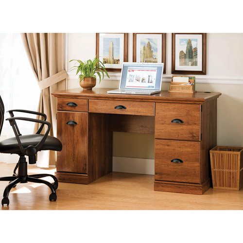 Oak Wood Computer Desk with Chair Cut Out . Great Furniture ...