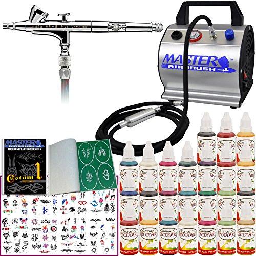 Iwata Airbrush Kit >> Professional Temporary Tattoo Airbrush Kit With Iwata Hp B Plus Airbrush Master Compressor Tc 60 Air Hose 100 Tattoo Stencils 24 Custom Body Art