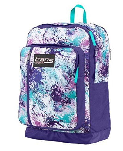 Trans Jansport Megahertz Laptop Backpack Purple Turquoise Blue White Pink  Splatter