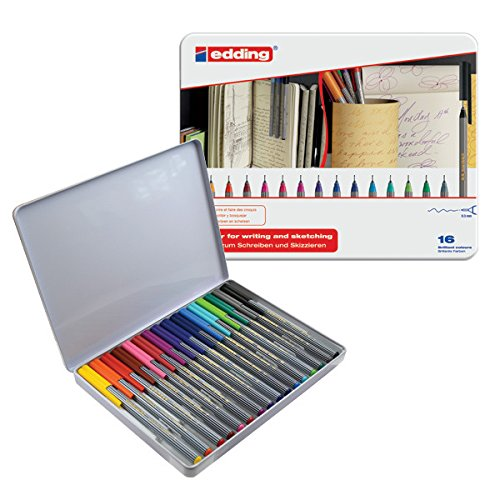 Edding Germany 55 Fineliner Pack of 16-Piece Assorted Color 0.3mm Best Coloring Pens